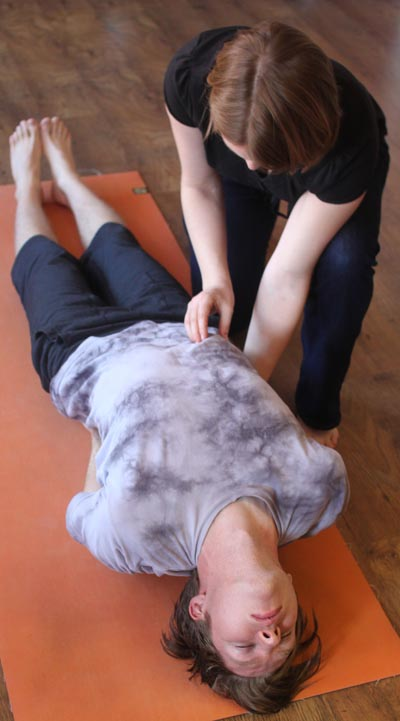 Releasing restrictions around the ribcage that prevent the breath to flow freely